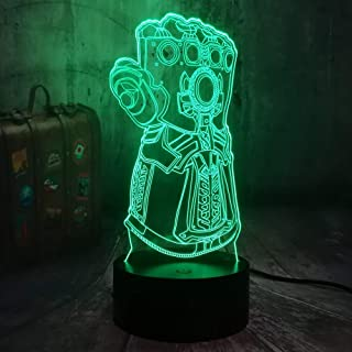 Avengers Marvel Comics Infinity Gauntlet Villain Thanos 3D LED Night Light USB Lámpara de mesa Niños Regalo de cumpleaños Decoración de la habitación