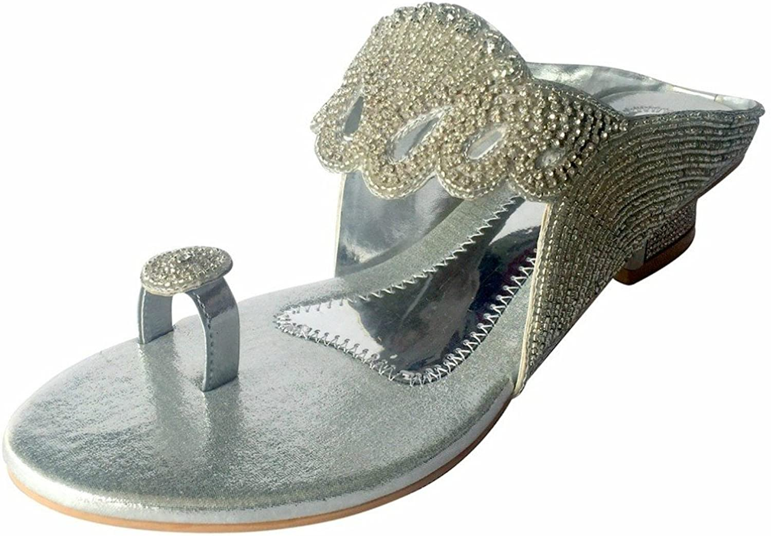 Step n Style Womens Diamante Indian Wedding Party Sandals shoes Juttis Khussa shoes
