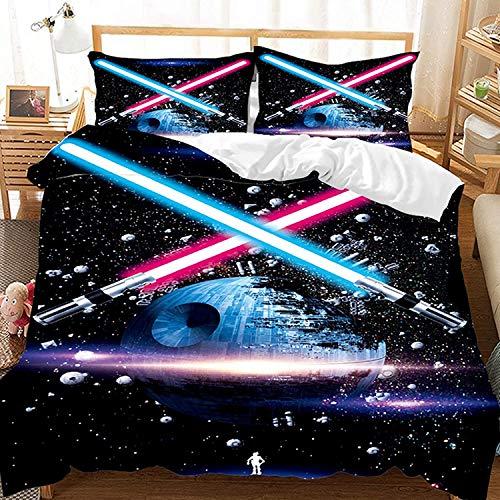 AQEWXBB Star Wars - Juego de ropa de cama infantil y funda de almohada (microfibra, con cremallera, A3, 135 x 200 cm + 80 x 80 cm x 2)