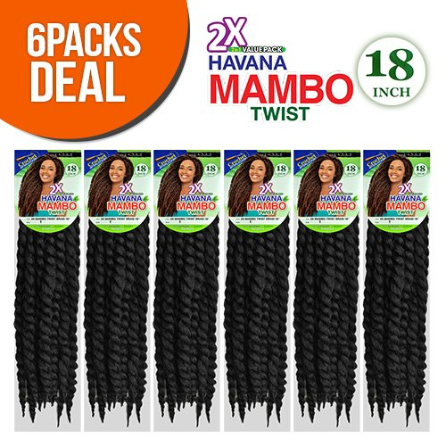Janet Collection Synthetic Hair Braids Havana 2X Mambo Twist Braid 18' (6-Pack, 1B)