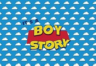 NIVIUS PHOTO 2,4 x 1,8 m blauer Himmel weiße Wolken Hintergrund Cartoon Kindergeburtstag Junge Babyparty Hintergrund Schritt und Wiederholung Dessert Tisch Banner Foto Studio Photo Booth W 2283