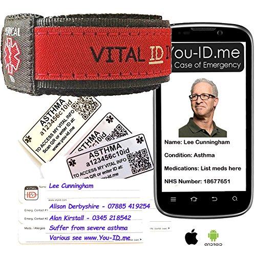 Volwassenen Astma Medische Identiteit en SMS Alert Armband* Unisex Rood