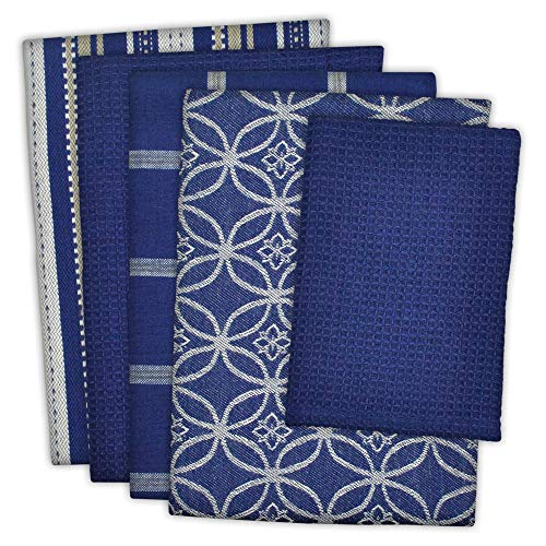"DII Cotton Oversized Kitchen Dish Towels 18 x 28"" and Dishcloth 13 x 13"", Set of 5 , Absorbent Washing Drying Dishtowels for Everyday Cooking and Baking-Nautical Blue"
