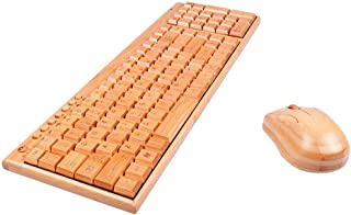 Sharon Church Handcrafted Natural Bamboo Wooden PC Wireless 2.4GHz Keyboard and Mouse Combo