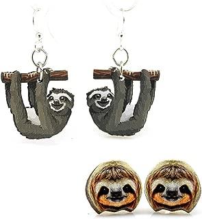 2 Pairs of Wooden Sloth Earrings