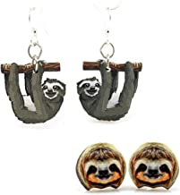 product image for Green Tree Jewelry 2 Pairs of Wooden Sloth Earrings