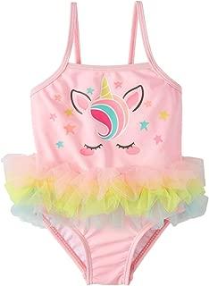 Infant Girls Pink & Rainbow Unicorn One Piece Tutu Swimming Bathing Suit