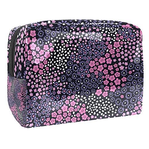 Bolsa de maquillaje portátil con cremallera bolsa de aseo de viaje para mujeres práctico almacenamiento cosmético pequeña flor rosa
