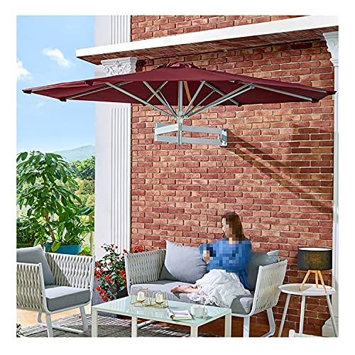 CCFCF Sombrilla De Jardín Al Aire Libre, Ø220cm Protección Solar Inclinable UPF50+ Sombrilla para Patio De Pared, 8 Postes Metálicos De Aluminio