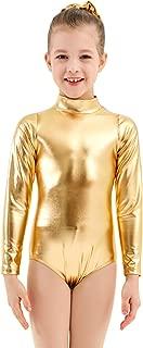 Mvefward Kids Girls Lycra Shiny Metallic Zipper Back Turtleneck Dance Leotard