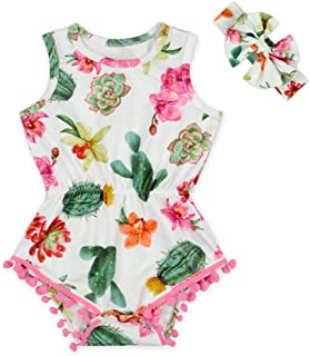 Anbaby Baby Girls Floral Ruffles Romper Long Sleeve & Sleeveless One-Pieces Bodysuit Floral Outfits