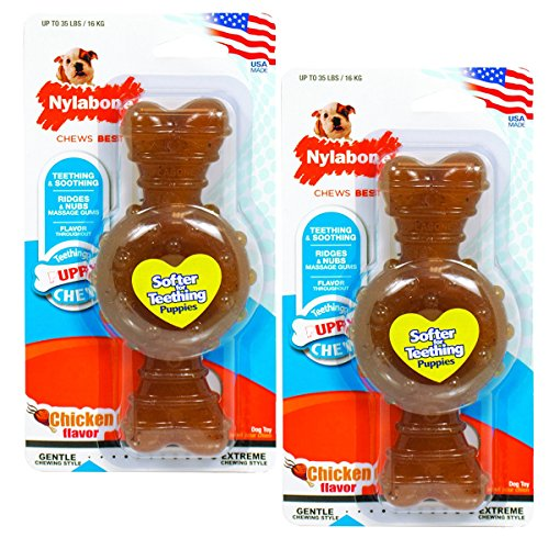 Nylabone Puppy Chew Toy   Puppy Teething Bone   Puppy Toy for Gentle Chewers (Chicken - 2 Pack, Puppy Up to 35 Lbs.)