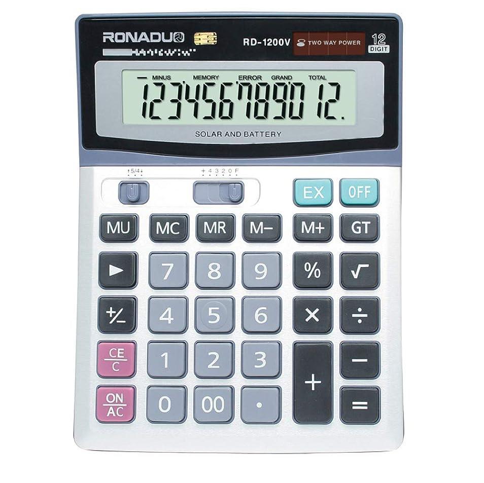 ほこりっぽい複雑ホテル卓上電卓 オフィス 学校 12桁 ソーラー電池式 大型ディスプレイキー