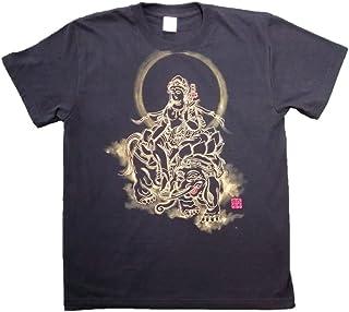 普賢菩薩 Tシャツ 白黒 半袖 和柄 仏画 日本画 手描き 墨絵 伯舟庵