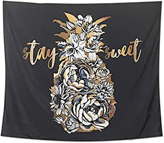 """Cheerhunting Pineapple Tapestry, Gold Pineapple with Flowers, Wall Hanging Silky Fabric Tapestry 80""""W by 60""""H for Bedroom Décor, Black Gold"""
