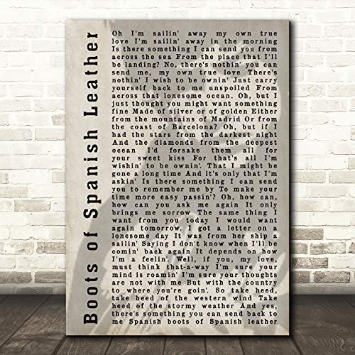 Laarzen van Spaans Leren Shadow Song Lyric Quote Muziek Gift Wall Art Poster Print Small A5
