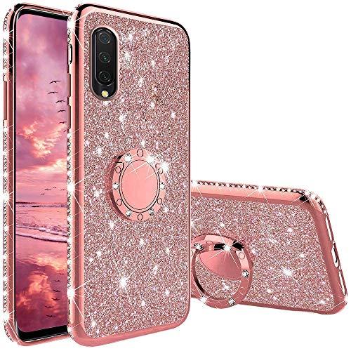 TVVT Kompatibel mit Xiaomi Mi A3 Hülle Glitzer, Glitter Diamant Handy Schutzhülle mit 360 Grad Ringhalter Magnetischer Autohalter Handyhülle Weich TPU Bumper Silikon - Rosa