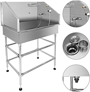 """MorNon Pet Dog Grooming Bath Tub 38"""" Stainless Steel with Faucet Walk-in Ramp & Accessories Pet Bathtub Dog Washing Station"""