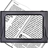3X Full Page Magnifying Glass Reading Magnifier with 6 LED Lights Handheld Hands-Free Magnifier with Stand & Lanyard PVC Material Ideal for Low Vision, Seniors, Reading Books, Newspapers, AC&DC