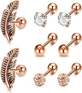 16G Helix Cartilage Tragus Earring Stainless Steel CZ Diamond Ear Piercing Jewelry