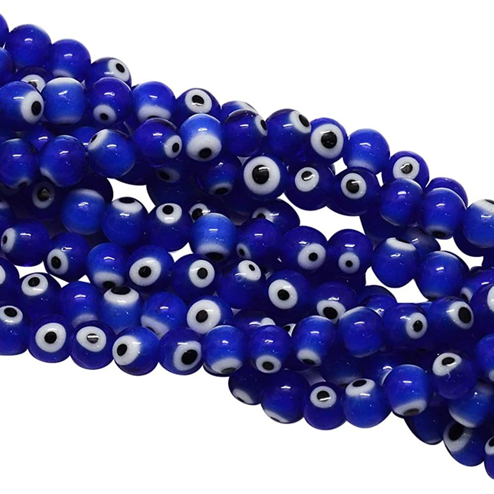 NBEADS 1 Strand (About 100pcs/strand) 4mm Blue Handmade Evil Eye Lampwork Beads Round Glass Beads for Bracelet Jewelry Making