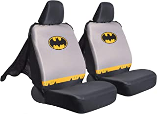 Superhero Seat Covers with Detachable Cape Backing - Front Car Seat Covers & Seat Back Protector (Batman)