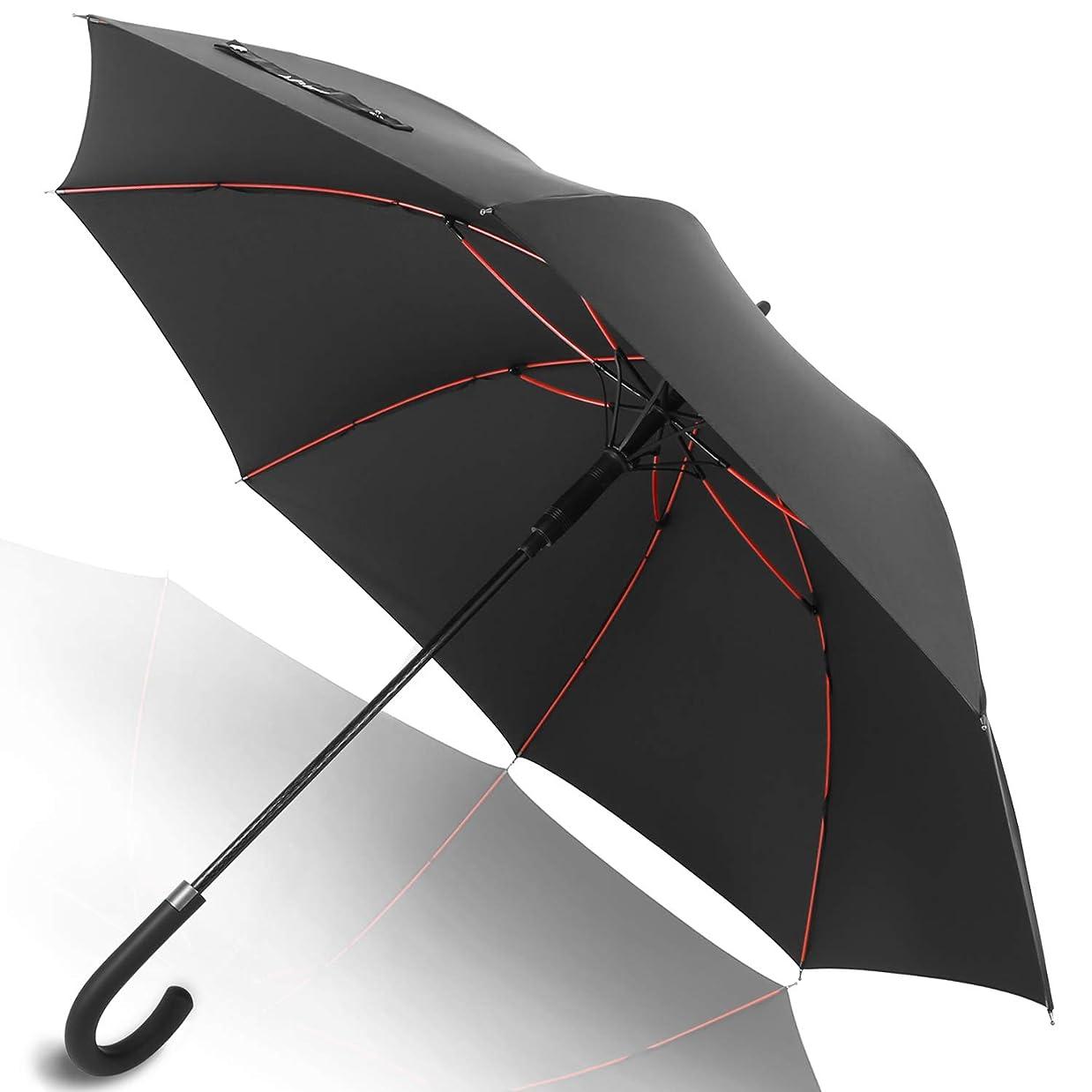ホイスト無許可セレナAnntrue 傘 長傘 メンズ レディース ワンタッチ 丈夫 撥水 耐風 Teflon加工 210T高強度グラスファイバー 軽量 大型 130cm 梅雨対策 晴雨兼用 収納ポーチ付き 永久保証付き