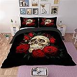 EMG Decorado creativa rosa cráneo con 3 series (1 funda nórdica + 2 fundas de almohada) Double200 * 200cmfor1.5MBed
