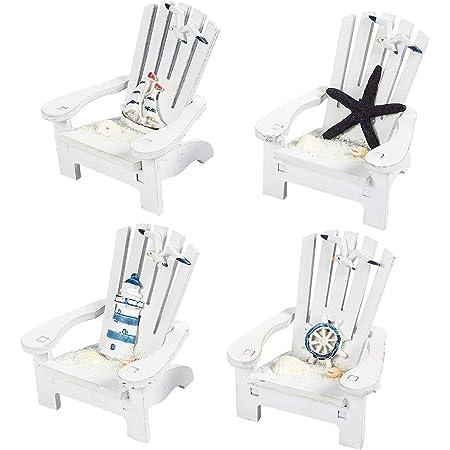 Mini Adirondack Beach Chairs for Coastal, Ocean, Nautical Theme Home Bathroom Decor, Ornaments (4 inch, Set of 4)