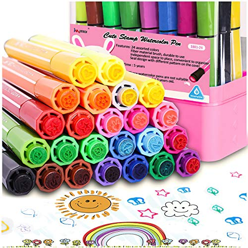 Watercolor Markers Paint Pens Markers Stamp Markers for Kids,Non Toxic Stamp Markers Pens Set with Storage Case,24 Colors Coloring Markers for Toddlers Preschoolers