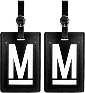 Personalized Leather Luggage Tags (Matching Set of 2): High-Contrast Debossed Initial M – Flexible Custom Travel Tags w/Extra Address Cards & Privacy Flap to Protect Personal Information (2-pack, M)
