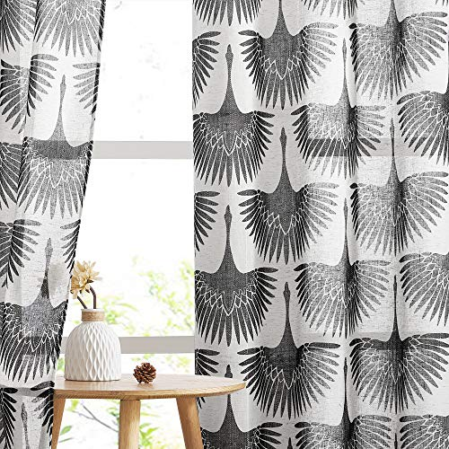 KGORGE Sheer Curtains 84 inch Length - Natural Linen Floral Curtains Geometric Print Half Translucent Washable Window Drapes for Bedroom Living Room French Door, Set of 2, Black