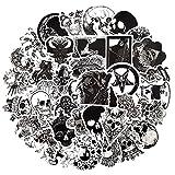 WUWEI Pegatinas Impermeables de Calavera de Terror en Blanco y Negro para patinetas, Equipaje para portátil, Juguete, Guitarra, Nevera, Motocicleta, 50 unids/Set