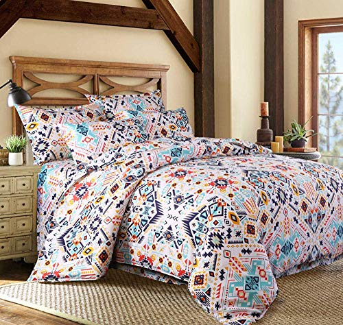 XYSQWZ Single Bed Sets,Bohemian Ethnic Style Bedding Set, Twin Full Queen King 4 Size Duvet Cover Pillowcase Set(King,220 * 240CM)
