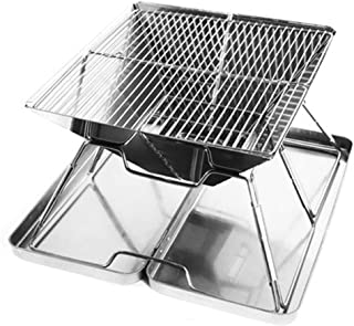 Goolsky Charcoal Grill Foldable BBQ Grill Portable Stainless Steel Picnic Barbecue Grill Outdoor Cooking Patio Backyard Ca...