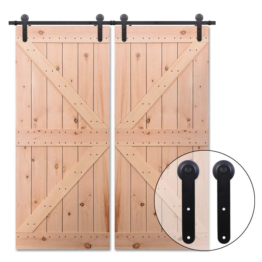 201cm/6.6FT Kit puerta granero herraje corredera,Puerta de Granero Corredera de Madera, Herraje para Puertas Corredizas Interiores,puerta doble: Amazon.es: Bricolaje y herramientas