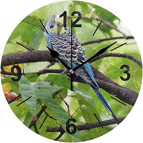 L.Fenn Vogel Sittich Kleine blauwe Leuke persoonlijkheid buiten diameter stille wandklok rond decoratief