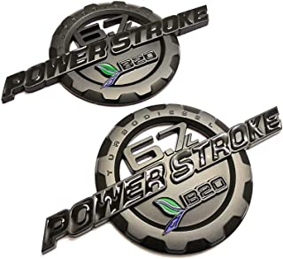 2pcs Black 6.7L POWER STROKE International Side Fender Emblems Badge Powerstroke 3D Logo Replacement for Powerstroke