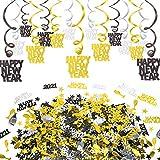 HOWAF Silvester deko 2022 Neujahr Silvester Dekoration Set, 15 Teilig Frohes neues Jahr Folie hängende Spiralen Girlande und Konfetti tischdeko Neujahr deko, schwarz, Gold, Silber (Spielzeug)