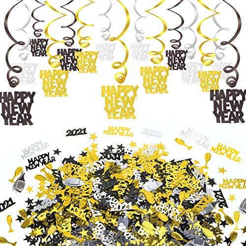 HOWAF 15pcs Feliz año Nuevo 2020 Colgar Remolino Adornos de espirales decoración de Techo y año Nuevo 2020 Confeti Negro & Oro para Fiesta de año Nuevo Decoración Nochevieja 2020