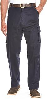 Mens Cotton Cargo Combat Side Elasticated Work Trouser Pants
