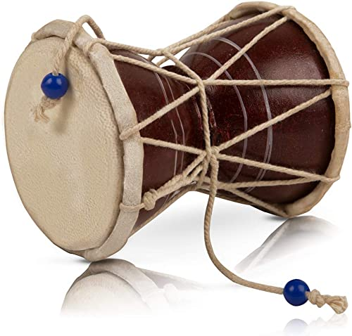 The Great Indian Bazaar Handmade Wooden Leather Classical Indian Folk Dumroo Damroo Damaru Hand Drum Set Percussion Decorative Collectible Showpiece World Musical Instruments Fun For Adults Kids