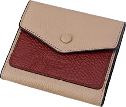 Itslife Women's Small Leather Wallet RFID Card Holder Mini Bifold Ladies Flat Pocket Purse (Natural Apricot & Wine Red)