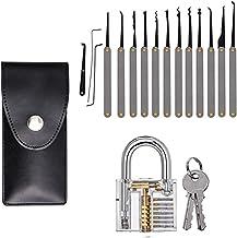 Lock Pick Set, 15-delige lockpickset + transparante oefensloten, professionele extractor gereedschap voor beginners