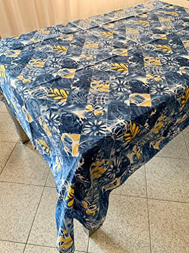 ROMBO BLU TOVAGLIA ANTIMACCHIA Fantasia Summer Yellow & Blue Misura 140X240 No Stiro Waterproof Made in Italy