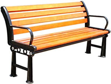 Rainproof and Sunproof Park Solid Wood Wrought Iron Benches, Outdoor Garden Benches with backrests, Park Wrought Iron Solid W
