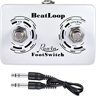 Dual Momentary External Footswitch for Drum Machine & Guitar Effects Pedal Foot Switch with 6.35mm Stereo Cable