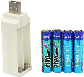 KENTLI KENTLI Lithium Li-ion Rechargeable 4 AAA Batteries with 4 ports USB Portable and Li Charger, 1.5V 1100 mWh
