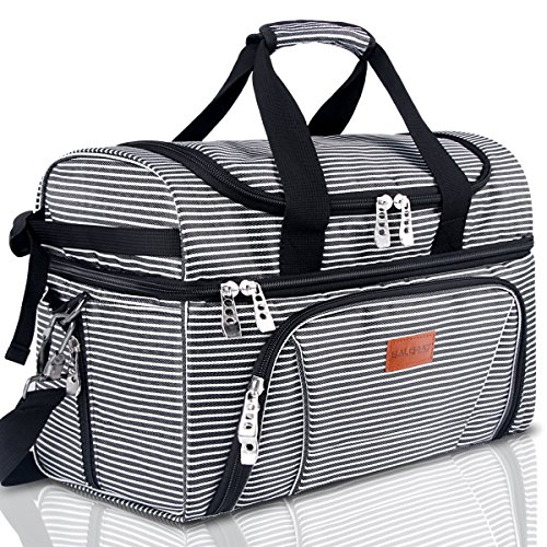 BALORAY Large Lunch Bag for Women Men Insulated Leak-proof Food Containers Lunch Pail for Office Picnic Beach Travel Camping-Black G-217Black&White Strip