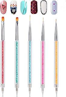 Double-Ended Nail Art Tools, TEOYALL 5 PCS Nail Design Kit Including Nail Liner Brush and Nail Dotting Pens for Acrylic Na...